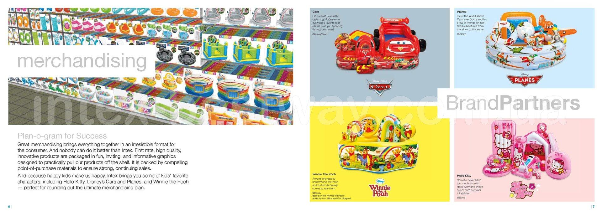 "Серии надувных изделий Intex: Король Лев ""The Lion King"", История Игрушек ""ToY Story"", Винни Пух ""Winnie The Pooh"", Hello Kitty, Тачки ""Cars"", Литачки ""Planes""."